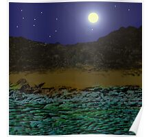 Full Moon Over A Rocky Shore. Poster