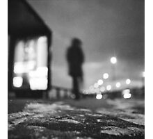 Man waiting at bus stop at night in winter square black and white analogue medium format film Hasselblad  photo Photographic Print