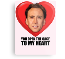Nicolas Cage - You Open the Cage to My Heart Metal Print