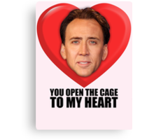 Nicolas Cage - You Open the Cage to My Heart Canvas Print