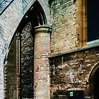 Buttress holding up tower on west of Pershore Abbey Pershore England 198405140044 by Fred Mitchell