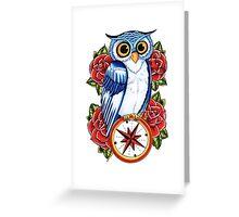 Owl Compass Rose tattoo design Greeting Card
