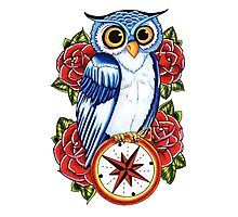 Owl Compass Rose tattoo design Photographic Print