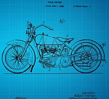 Harley Davidson Motorcycle Patent 1925 - Blue by chris2766