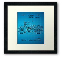 Harley Davidson Motorcycle Patent 1925 - Blue Framed Print