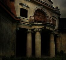 Abandoned mansion and two bats by JBlaminsky