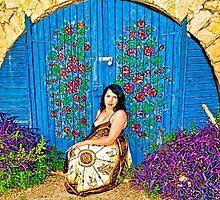 Girl and old painted gate.jpg by Benjamin Gelman