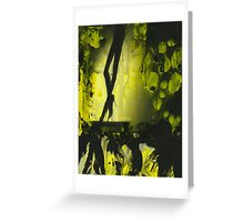 Yellow water color painted silver gelatin black and white print  of legs of female dancer analog film photo Greeting Card