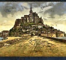 A digital painting of  Mont St. Michel, France by Dennis Melling
