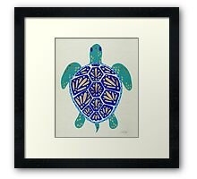 Sea Turtle – Navy & Gold Framed Print