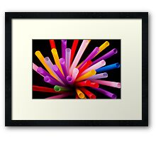 Colorful drinking straws Framed Print