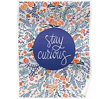 Stay Curious – Navy & Coral Poster