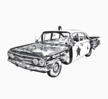 1960 Chevrolet Biscayne Police Car Illustration Kids Clothes