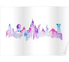 Disneyland Paris Watercolor Skyline Silhouette Poster
