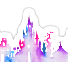 Disneyland Paris Watercolor Skyline Silhouette Sticker