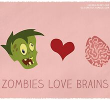Zombies Love Brains by iansmileyart