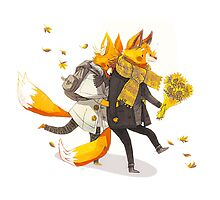 Sunflower Foxes Photographic Print
