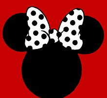 Minnie Mouse Ears with Black & White Spotty Bow by BethannieeJ