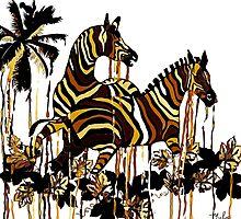 Autumn Zebras Abstract by Saundra Myles