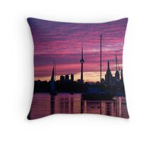 Toronto Skyline - the Boats Are Coming In Throw Pillow