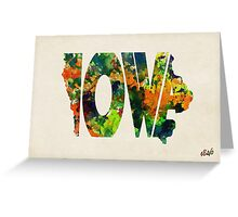 Iowa Typographic Watercolor Map Greeting Card