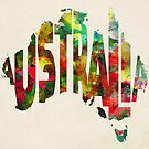 Australia Typographic Watercolor Map by A. TW