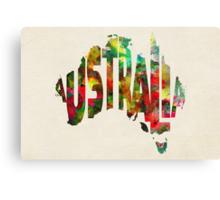 Australia Typographic Watercolor Map Canvas Print