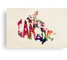 Canada Typographic Watercolor Map Metal Print