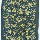 Queen Anne's Lace in Gold on Navy by Cat Coquillette