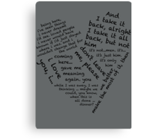 Quotes of the Heart - Janto (Black) Canvas Print