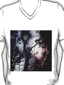 Tree branches on summer evening  in Spain square medium format film analogue photographer T-Shirt