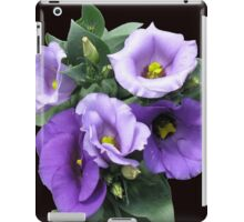 Sunlit Purple Lisianthus on Black Background iPad Case/Skin
