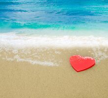 Red Heart shape on sandy beach by ellensmile