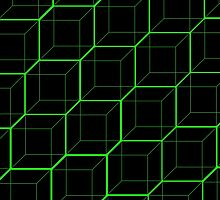 Green Cubes - Black by Hayden Di Bona