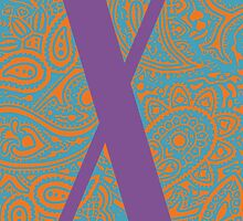 Paisley Print Letter 'X' by haypaige