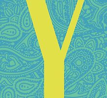 Paisley Print Letter 'Y' by haypaige