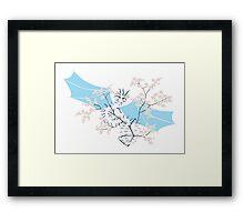 Cherry Tree Dragon - White and Blue Framed Print