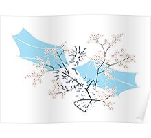 Cherry Tree Dragon - White and Blue Poster