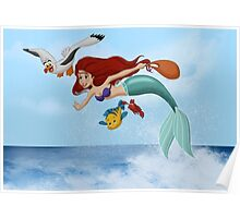 """The Little Mermaid - Ariel """"Flying with Scuttle"""" Poster"""