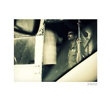 Man Observing from Bus in Hyderabad, India by stado