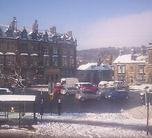 Buxton Market Place in snow by mindgoop