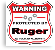 Ruger Protected by Ruger Shield Canvas Print