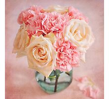 Beautiful bouquet of white roses and pink carnations Photographic Print