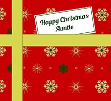 Auntie red Christmas parcel card by julesdesigns