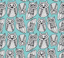 Cute Owl Sketch Doodle  pattern by EkaterinaP