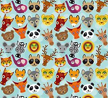 Seamless pattern with funny cute animal face on a blue background.  by EkaterinaP
