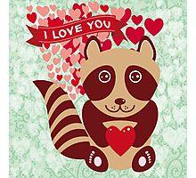 cartoon raccoon. I love You.  Photographic Print