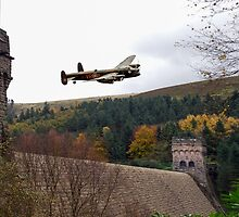 Lancaster V-RA at the Derwent Dam by Gary Eason + Flight Artworks