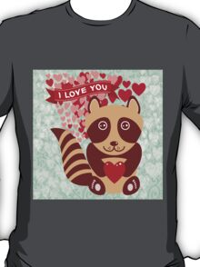 cartoon raccoon. I love You.  T-Shirt