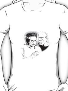 Frankenstein's Monster and Bride of Frankenstein. Spooky Halloween Digital Engraving Image T-Shirt